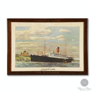 "Cunard Line ""Franconia"" Europe Lithograph"