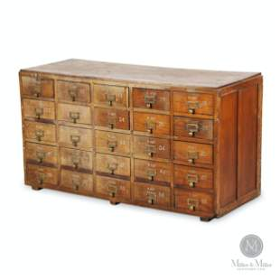 Early Computer Punch Card Multi Drawer Filing Cabinet