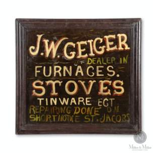 St. Jacobs Merchant Reverse Painted Glass Trade Sign