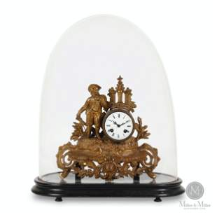 Figural French Gilt Clock Under Glass