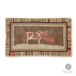 Hooked Rug with a Red and White Cow