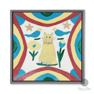 Painting of A Yellow Cat by Joe Sleep