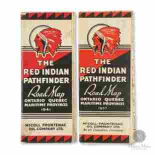 1937 & 1941 Red Indian Pathfinder Road Maps