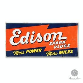 Edison Spark Plugs Tin Litho Sign