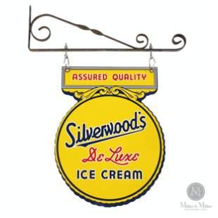 Silverwoods Ice Cream Tin Litho Hanging Sign
