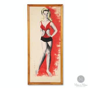 1964 Blonde Bathing Suit Model Oil on canvas