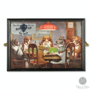 """Blue Top Coolidge """"Dogs Playing Poker"""" Lithograph"""