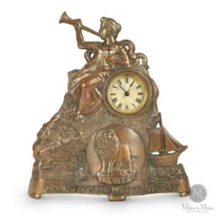 C.N. Huether Lion Brewery, Waterloo Cast Mantle Clock