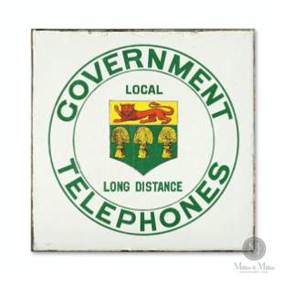 Government Telephones Porcelain Sign