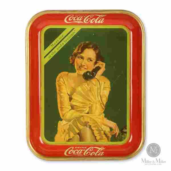 1930 Coca-Cola Telephone Girl Tray