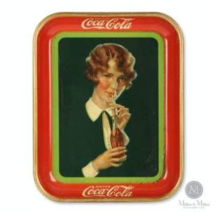 1928 Coca-Cola Sipping Girl Tray
