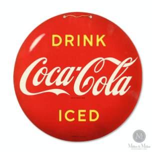 Coca-Cola Cardboard Button Fan Pull
