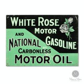 White Rose Gasoline & Motor Oil Tin Litho Sign