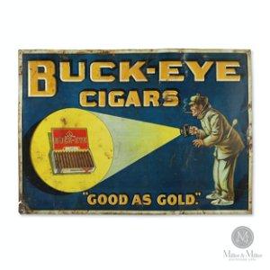 Buckeye Cigars Tin Litho Sign