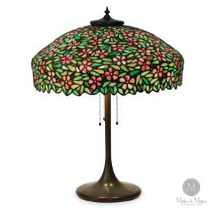 Handel, Cherry Blossom Leaded Glass Table Lamp