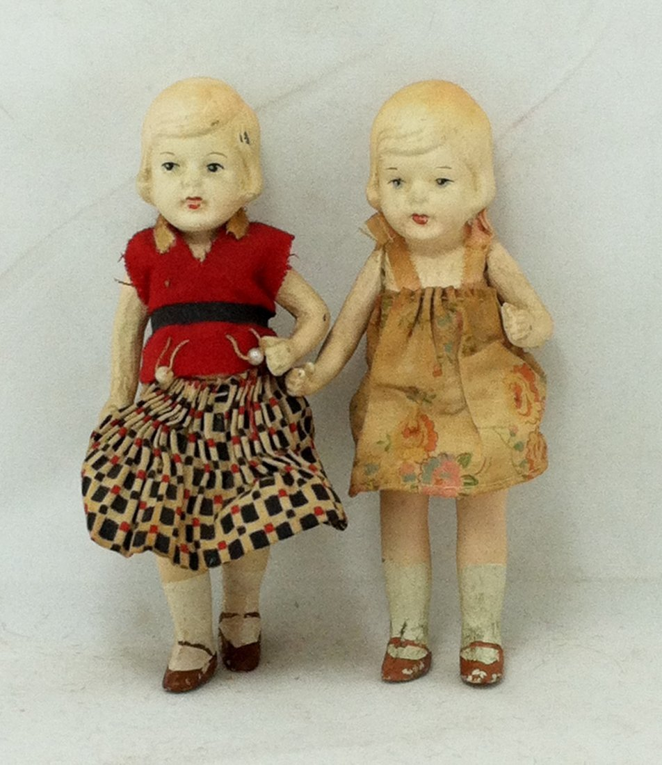 Pr 1930's Bisque Girl Twins