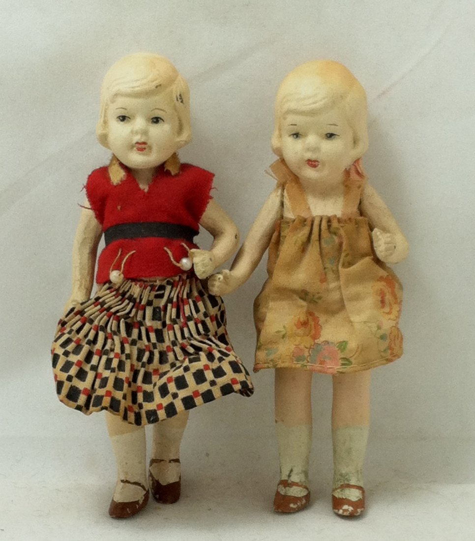 Pr 1930's Bisque Girl Twins - 2