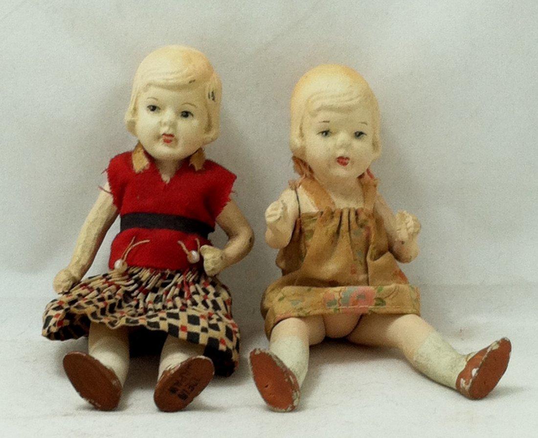 Pr 1930's Bisque Girl Twins - 6