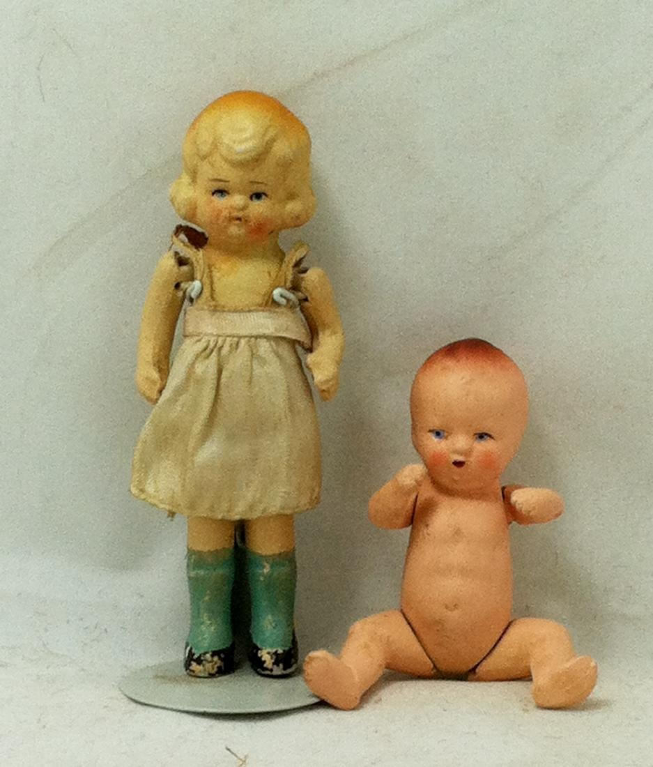 2 All bisque Dolls 1 Girl 1 Baby