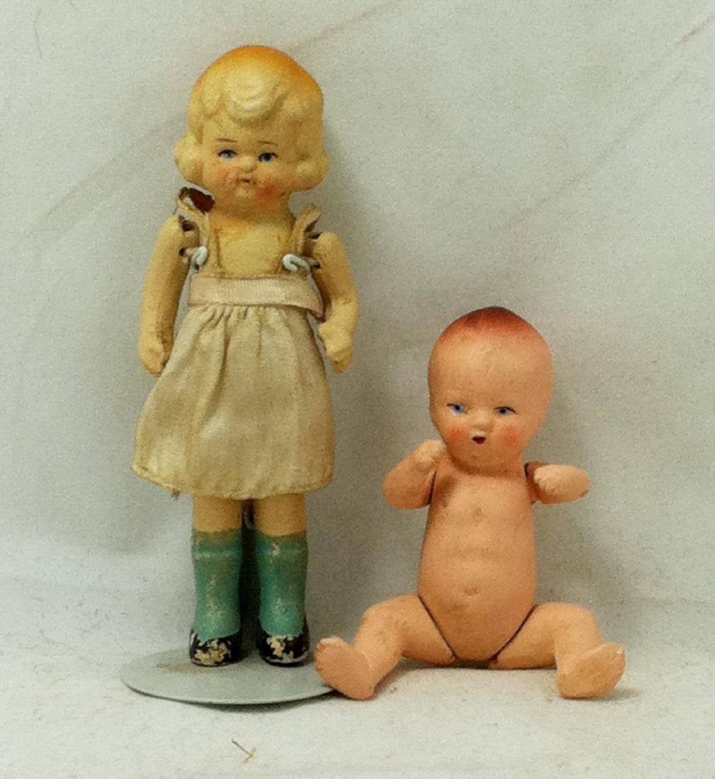 2 All bisque Dolls 1 Girl 1 Baby - 2