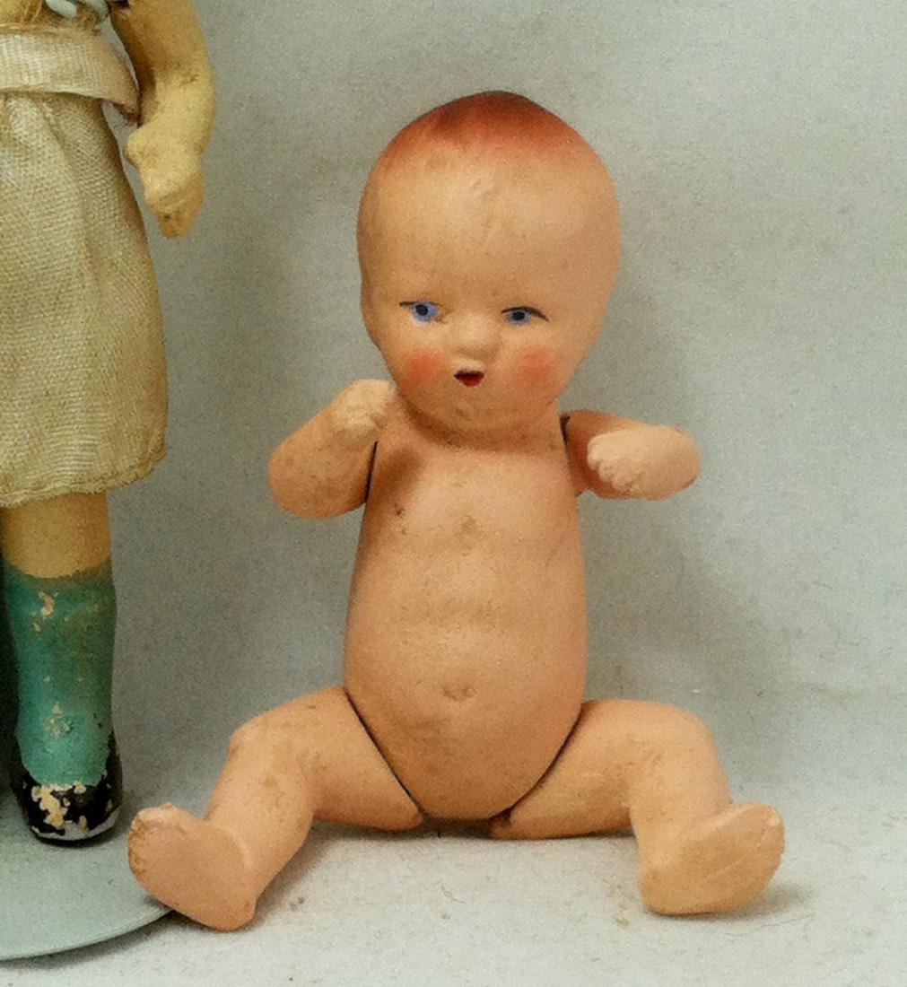 2 All bisque Dolls 1 Girl 1 Baby - 4