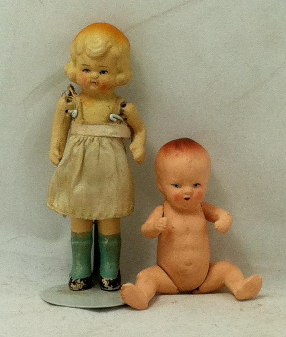 2 All bisque Dolls 1 Girl 1 Baby - 8