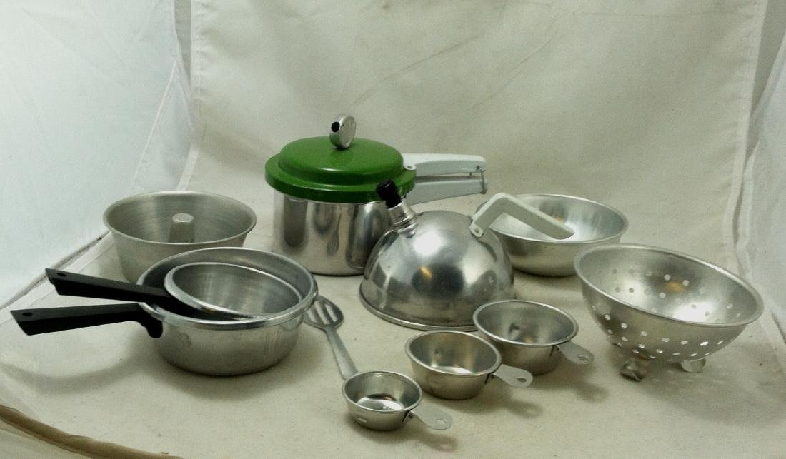 "10 Pc Lot Mini ""Mirro Jr.""Cooking Set - 5"
