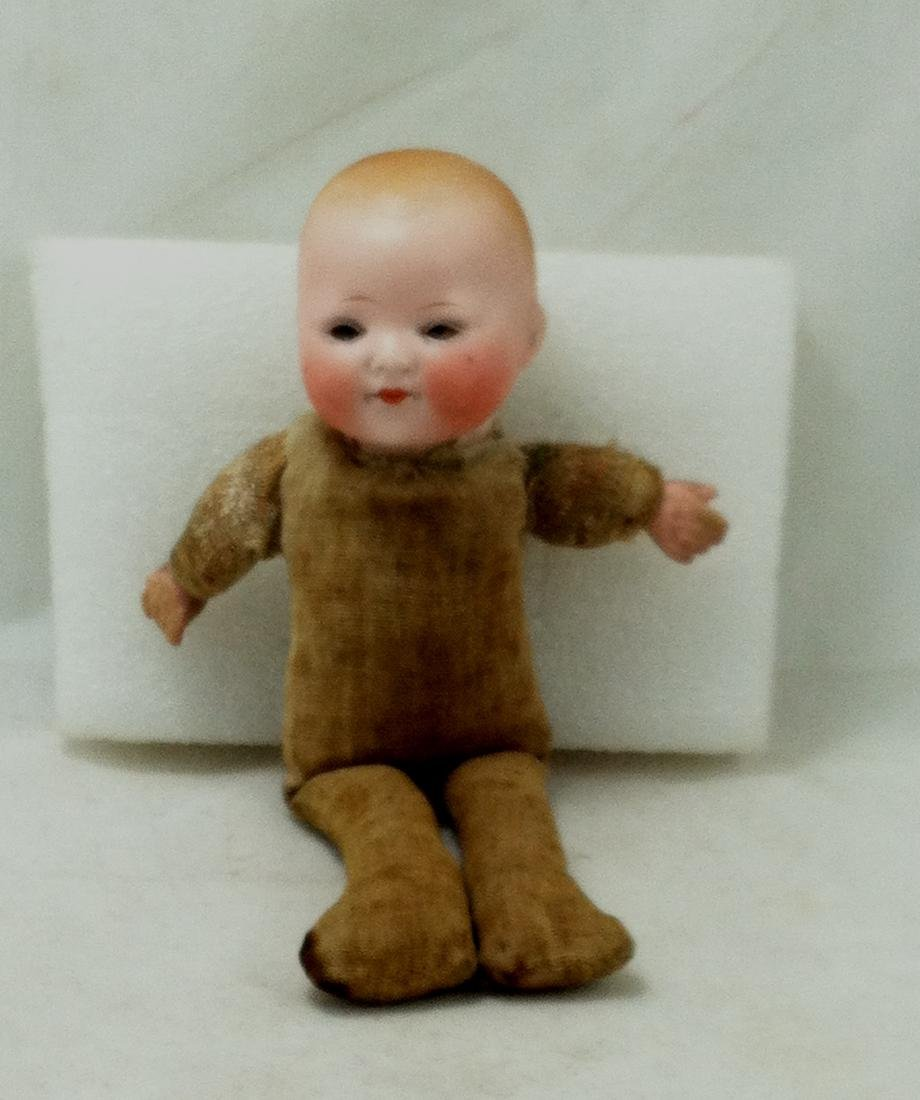 Antique Bisque & Straw Baby Boy Doll