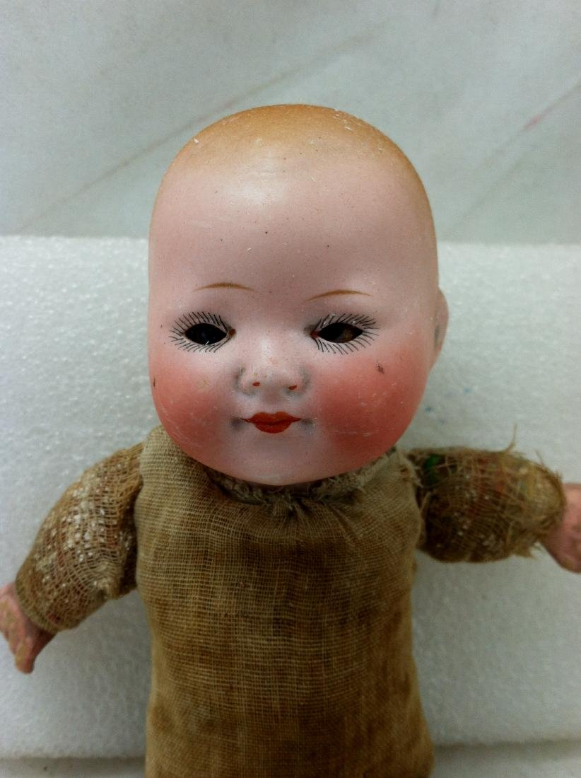 Antique Bisque & Straw Baby Boy Doll - 2