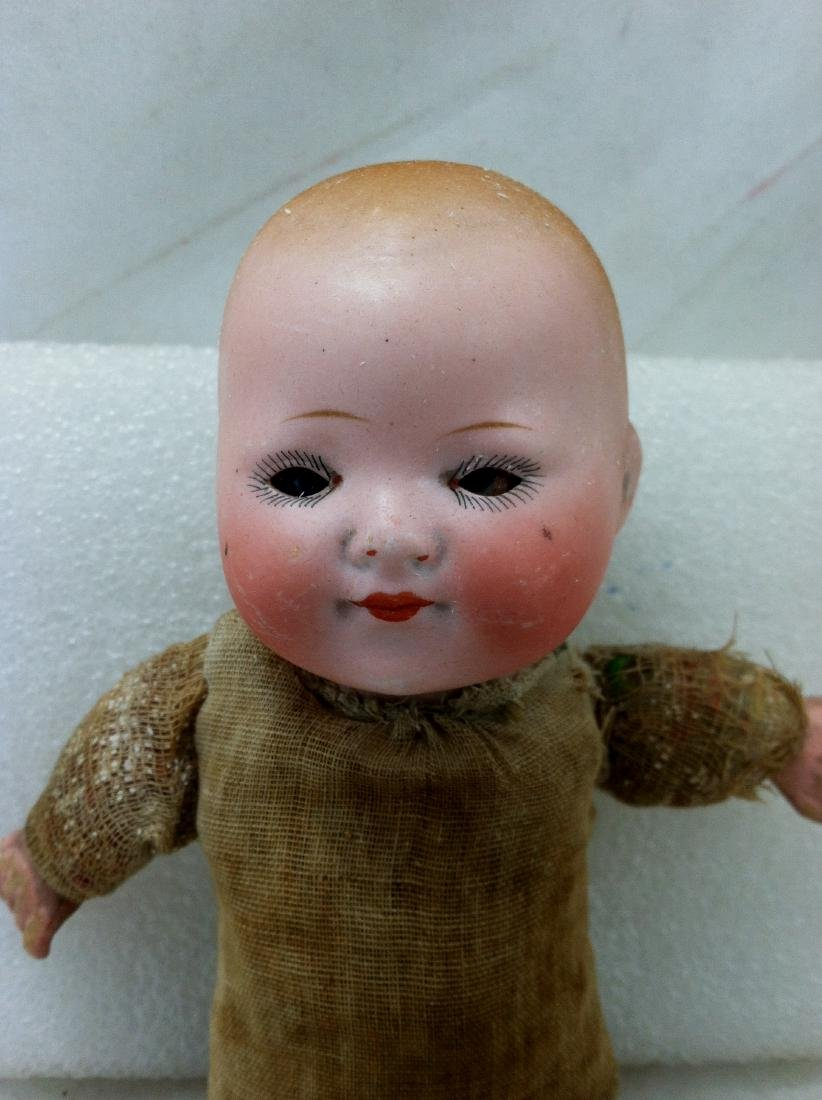 Antique Bisque & Straw Baby Boy Doll - 3