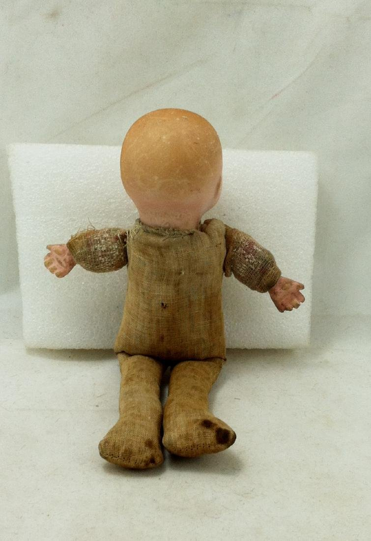 Antique Bisque & Straw Baby Boy Doll - 4