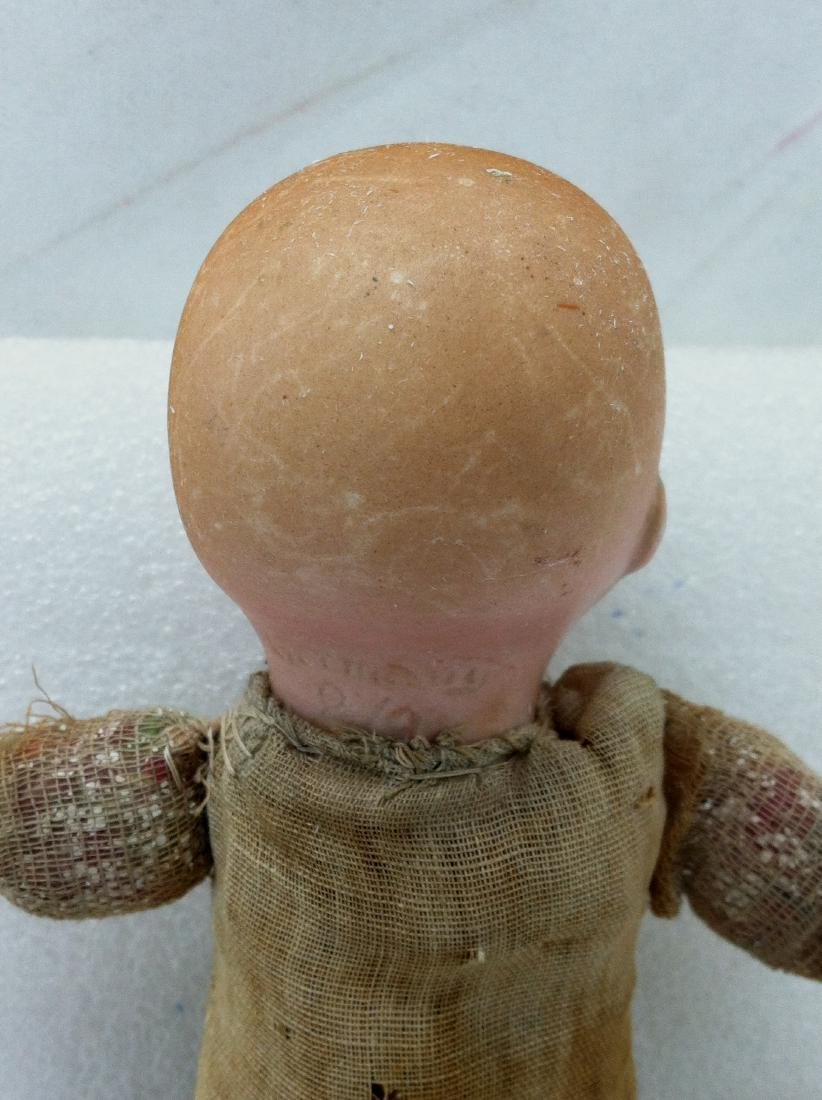 Antique Bisque & Straw Baby Boy Doll - 5