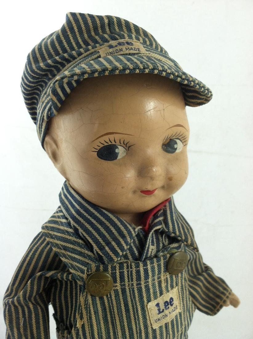 Buddy Lee All Compo Doll w/ Overalls & Hat - 5