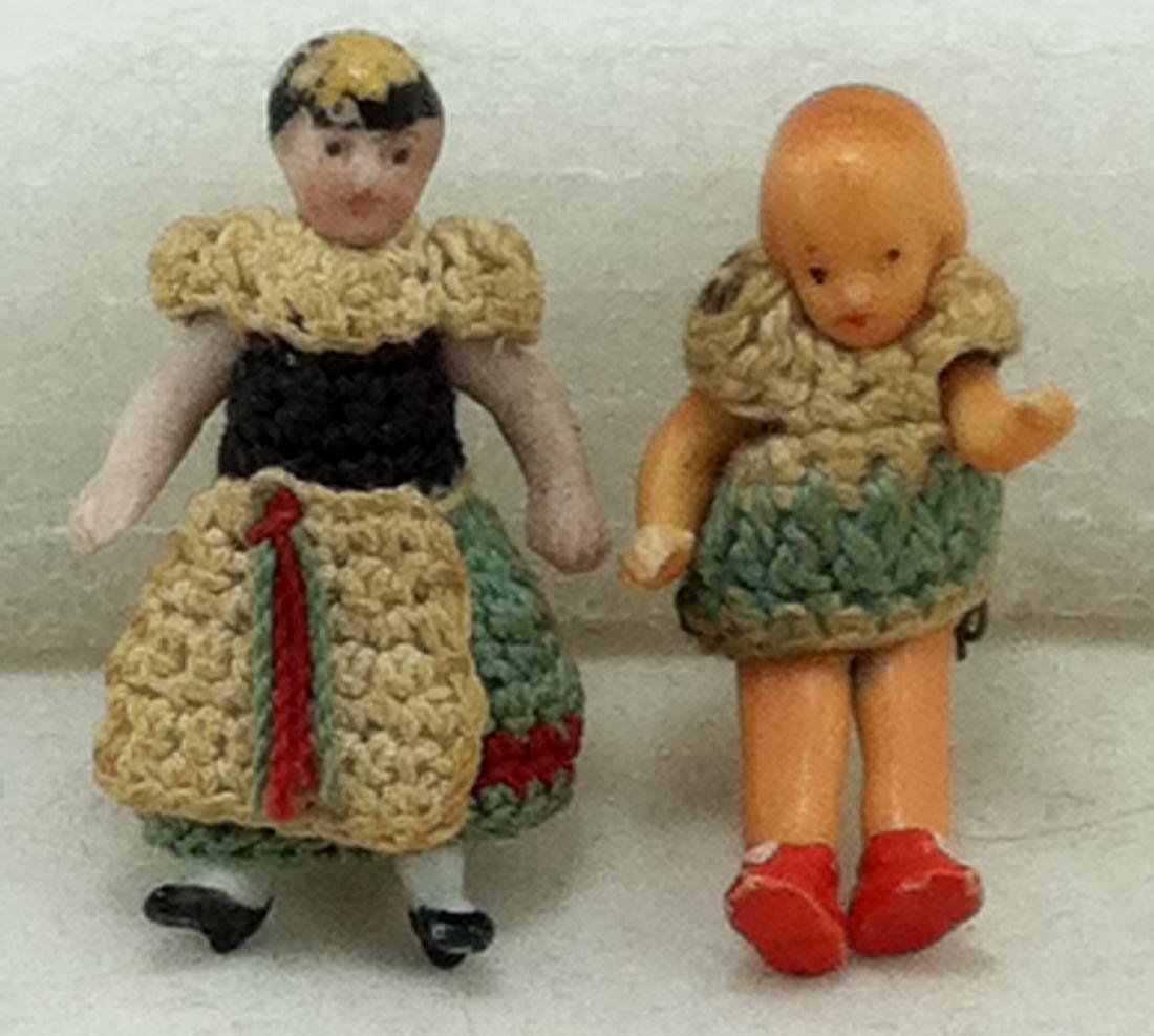 """2 Real Little Bisque Dolls @ 1 3/8""""h. - 2"""