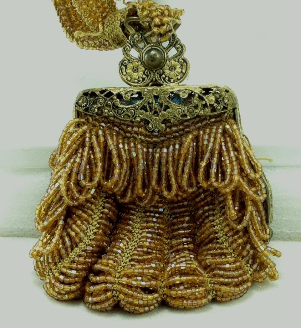 Victorian All Gold Iridescent Beaded Dolls Hand Bag - 3