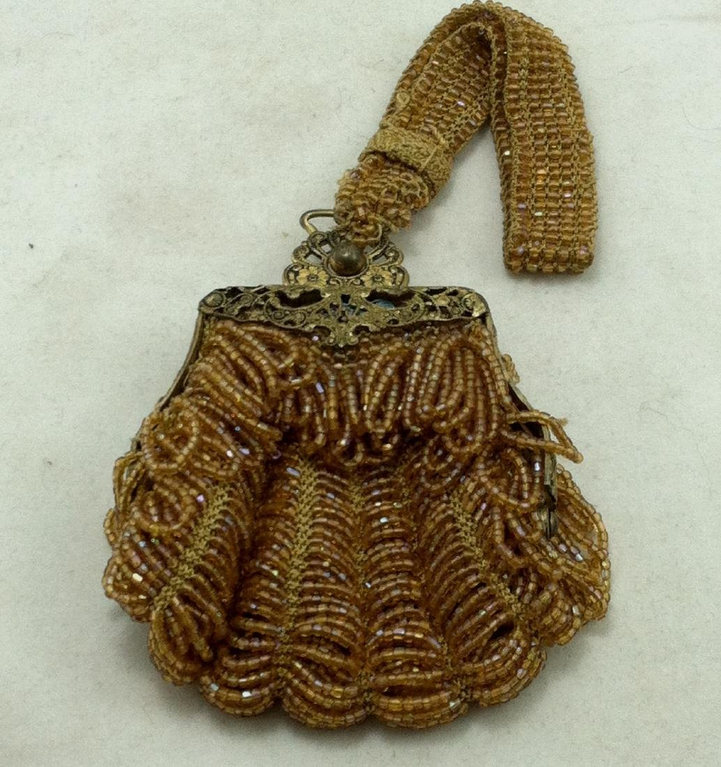 Victorian All Gold Iridescent Beaded Dolls Hand Bag - 6