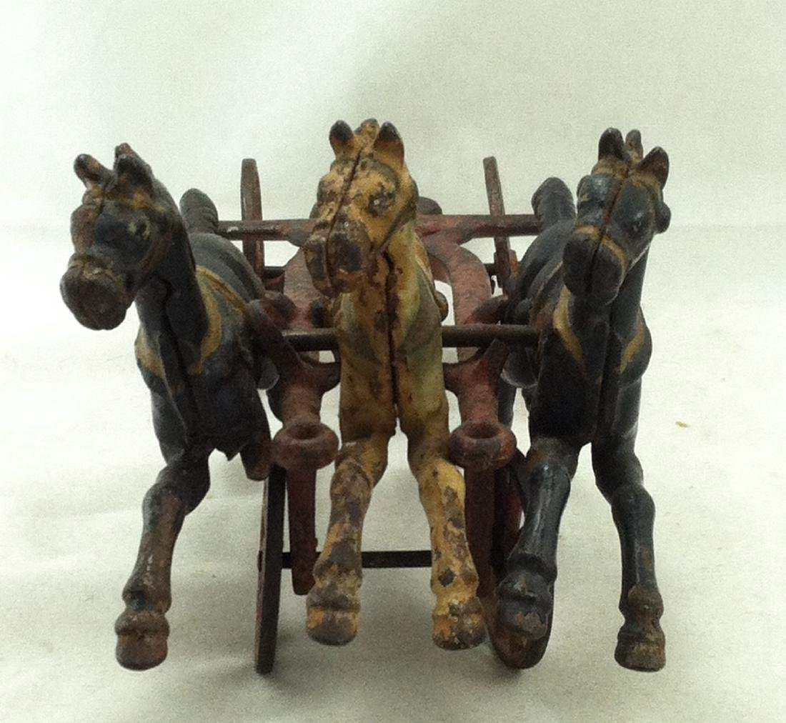 Cast Iron 3 Horse Team 20's Hubley As-Is - 2