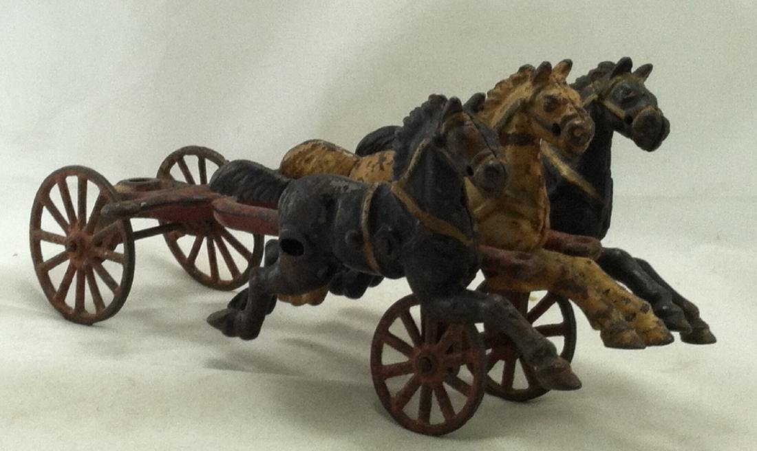 Cast Iron 3 Horse Team 20's Hubley As-Is - 3