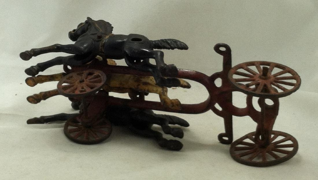 Cast Iron 3 Horse Team 20's Hubley As-Is - 6