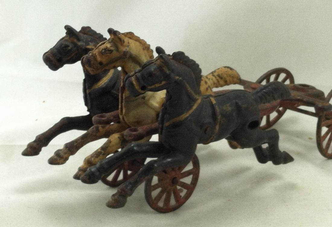 Cast Iron 3 Horse Team 20's Hubley As-Is - 7
