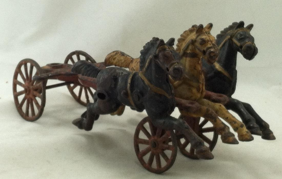 Cast Iron 3 Horse Team 20's Hubley As-Is - 8