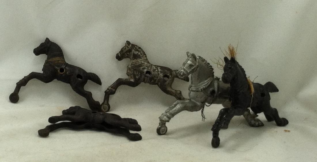 Hubley Cast Iron 6 pc. Horse Lot: - 5