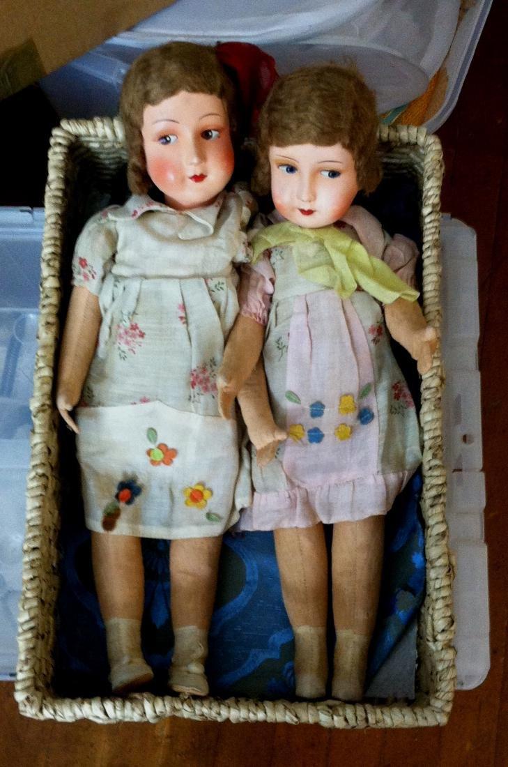 """Pr. Twin Sister Dolls 17.5"""" tall. 1930's"""