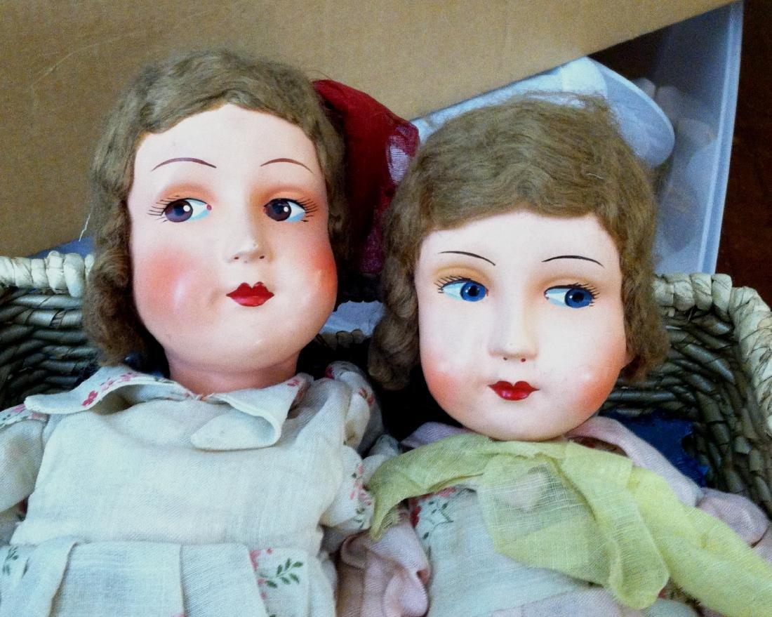 """Pr. Twin Sister Dolls 17.5"""" tall. 1930's - 2"""