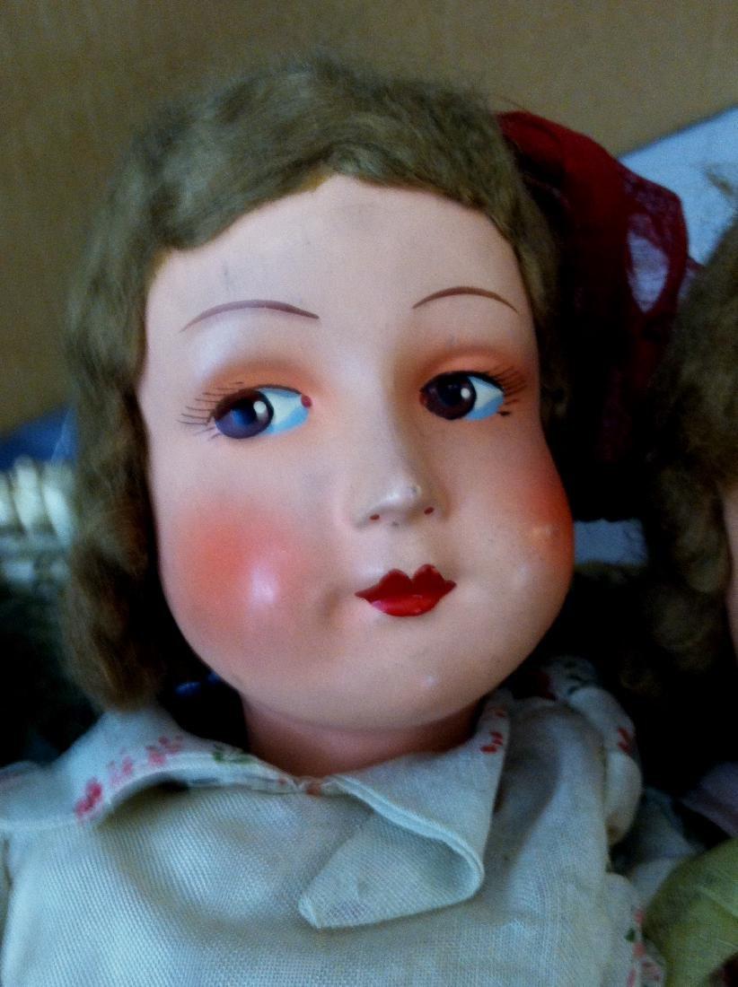 """Pr. Twin Sister Dolls 17.5"""" tall. 1930's - 3"""