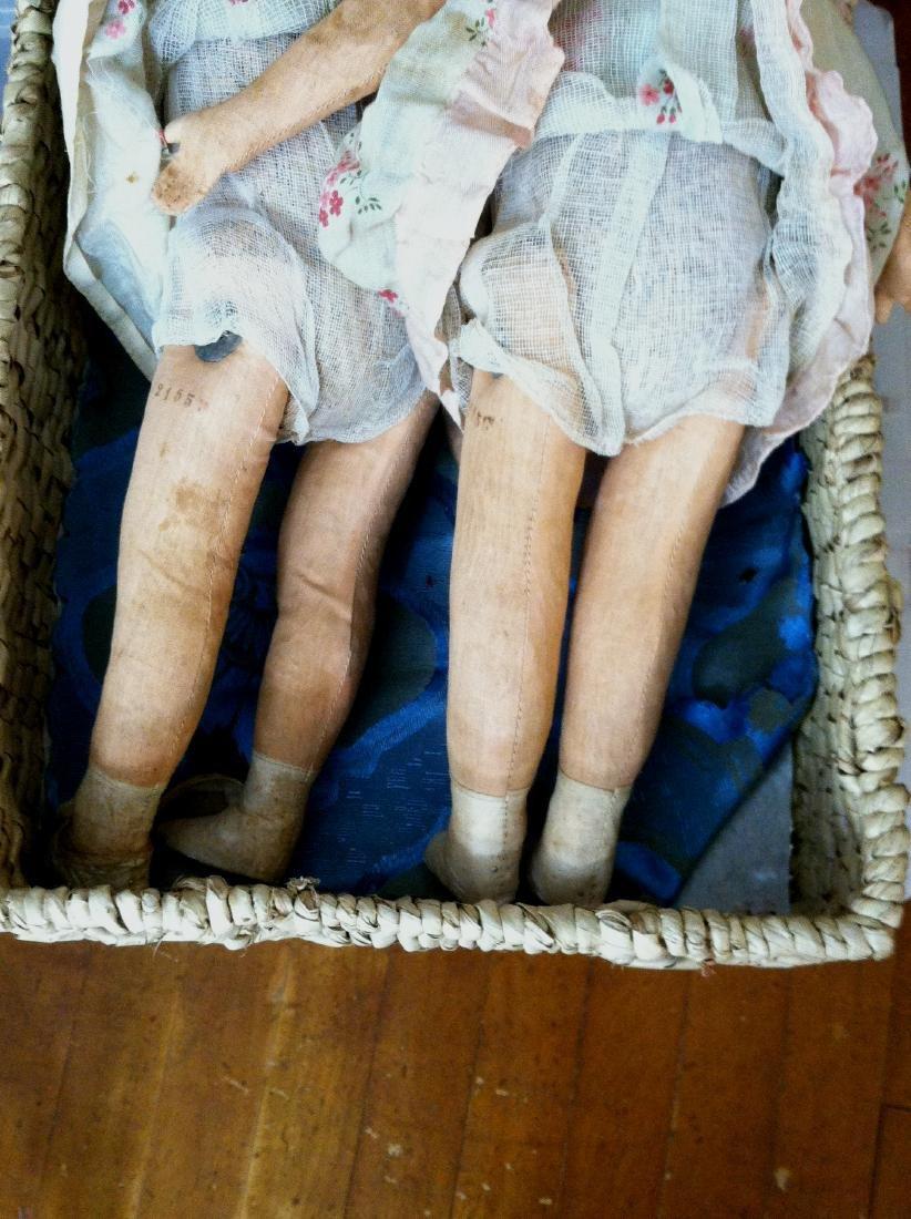 """Pr. Twin Sister Dolls 17.5"""" tall. 1930's - 6"""