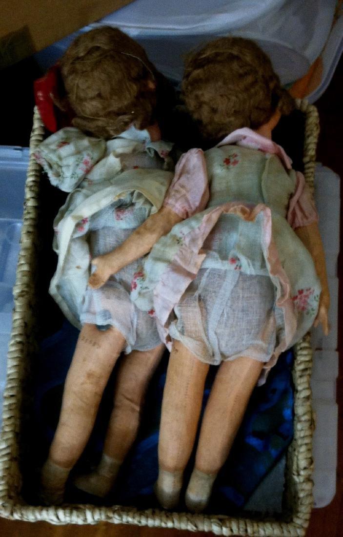 """Pr. Twin Sister Dolls 17.5"""" tall. 1930's - 8"""