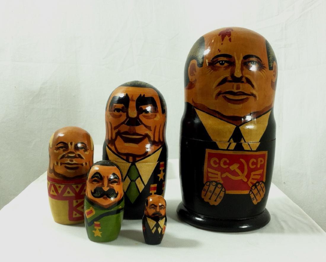 2 Sets of Russian Leaders Nesting Dolls. - 2