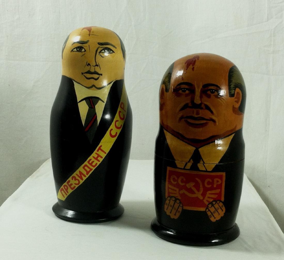 2 Sets of Russian Leaders Nesting Dolls. - 8