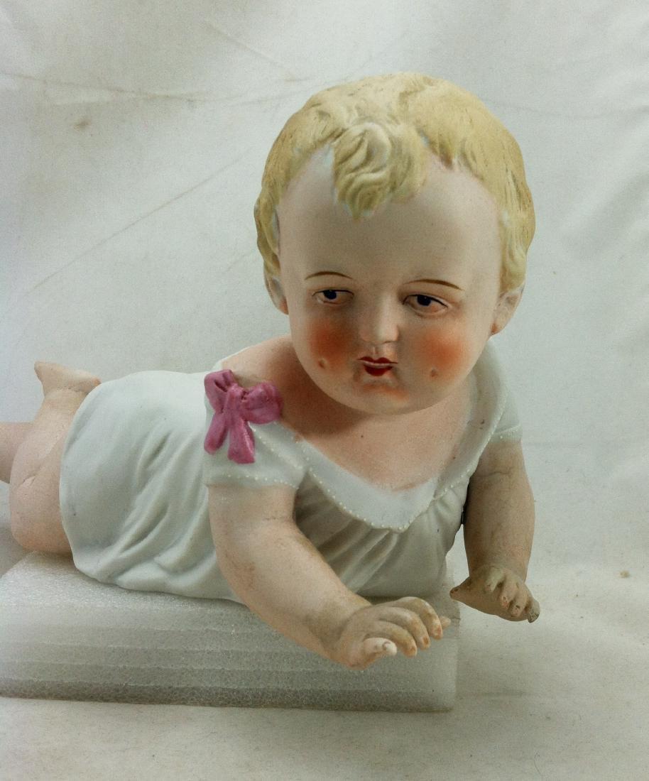 Big Antique Bisque Boy Piano Baby - 7